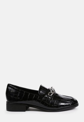 Missguided Black Mock Croc Chain Detail Loafers