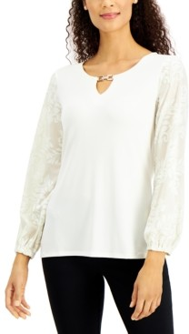 JM Collection Embellished Velvet-Sleeve Top, Created for Macy's