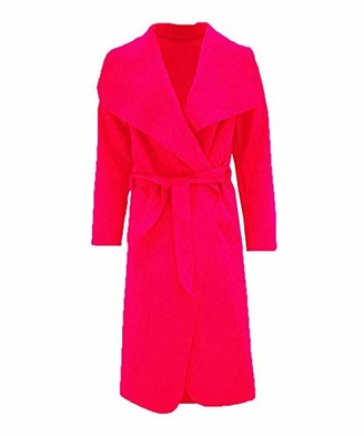 Top Fashion18 Women Long Waterfall Italian Duster Coat French Belted Trench Waterfall Coat Size 8-22 Red