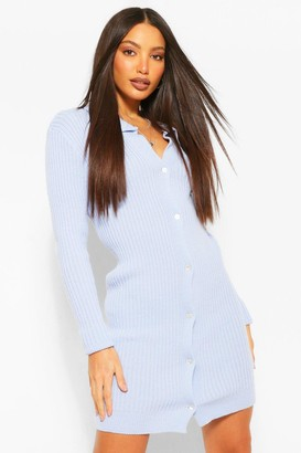 boohoo Tall Collared Longline Button Up Knitted Cardigan