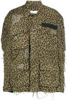 R 13 shredded leopard print denim jacket - women - Cotton - XS