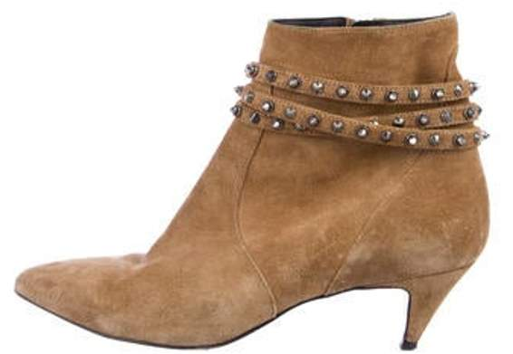 Saint Laurent Spiked Ankle Boots Brown Spiked Ankle Boots