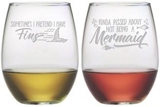 Susquehanna Glass Mermaids Stemless Wine Tumbler (Pair of 2) 21 oz