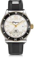 Salvatore Ferragamo 1898 Sport Stainless Steel Men's Watch w/Black Rubber Strap