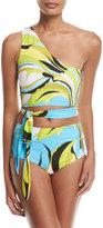 Emilio Pucci Fiore Maya One-Shoulder Two-Piece Bikini Set, Blue Pattern