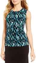 Calvin Klein Abstract Tile Print Matte Jersey Pleat Neck Shell