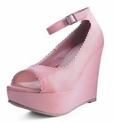 T.U.K. Light Pink Scallop-Trim Ankle-Strap Sandal