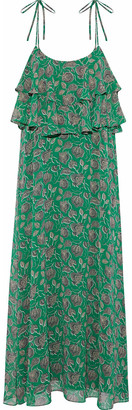 Rebecca Minkoff Argan Ruffled Printed Chiffon Midi Dress