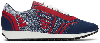 Prada Red and Navy Knit Sport Sneakers