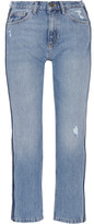 MiH Jeans Jeanne Cropped Striped Straight-leg Jeans - Mid denim