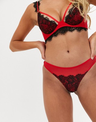 Peek & Beau red thong with black lace detailing