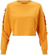 Miss Selfridge Petite Ruffle Sleeve Sweatshirt, Ochre