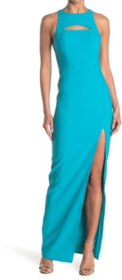 LIKELY Taleesa Halter Neck Cutout Slit Gown