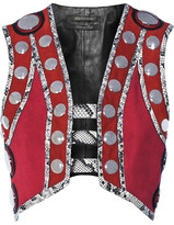 Roberto Cavalli Embellished Leather And Elaphe-trimmed Suede Vest - Claret