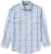 Murano Long-Sleeve Spread-Collar Plaid Textured Sportshirt
