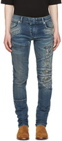 Pierre Balmain Blue Distressed Panelled Jeans