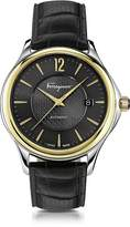 Salvatore Ferragamo Time Stainless Steel and Gold IP Men's Automatic Watch w/Black Croco Embossed Strap