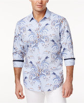 Tasso Elba Men's Floral Grid-Pattern Cotton Shirt, Only at Macy's
