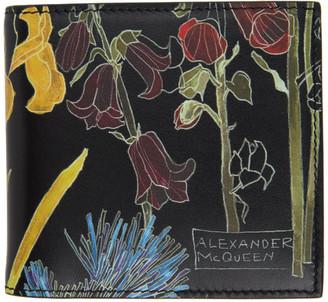 Alexander McQueen Black Floral Bifold Wallet