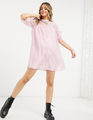 Vila high neck smock mini dress in pink