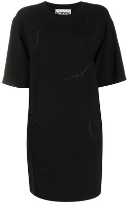 Moschino embroidered scar-effect T-shirt dress
