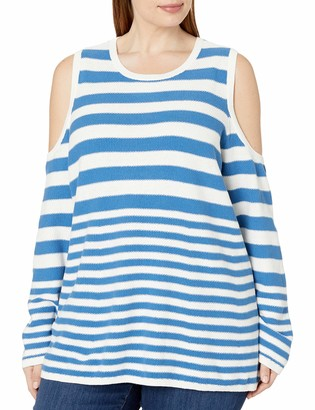 Heather B Women's Plus Size Stripe Cold Shoulder
