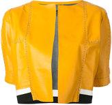 Aviu cropped short sleeve jacket - women - Polyamide/Polyester/Viscose/Leather - M