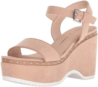Chinese Laundry Women's TULA Wedge Sandal Dark Nude Suede 10 M US