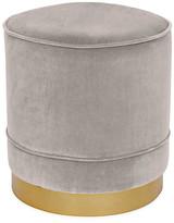 Kim Salmela Piper Stool - Light Gray Velvet frame, brass; upholstery, light gray