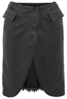 MM6 MAISON MARGIELA Open-front Leather Skirt - Womens - Black