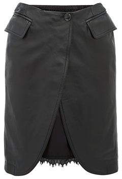 MM6 MAISON MARGIELA Open-front Leather Skirt - Womens - Black