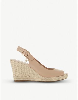 Dune Kicks leather espadrille wedge sandals