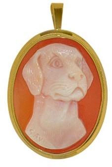 Del Gatto Dog Cornelian Cameo Pendant / Pin