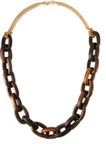 """Kenneth Jay Lane Golden Chain & Chunky Wood Link Necklace, 36"""""""