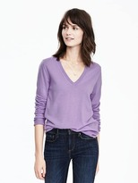 Banana Republic Merino Wool Pointelle Vee Pullover