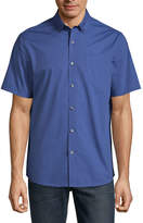 Claiborne Short Sleeve Tonal Button-Front Shirt