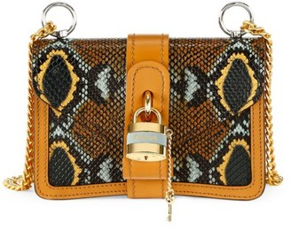 Chloé Mini Aby Python-Embossed Leather Shoulder Bag