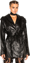 Rodarte Ruffle Leather Wrap Jacket