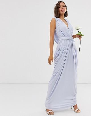 Club L London slinky cowl back bridesmaid maxi dress-Blue