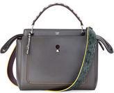 Fendi Dotcom Medium Snakeskin-Trim Satchel Bag, Navy