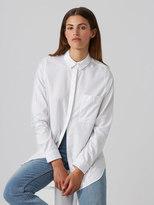 Frank and Oak Cotton-Tencel Boyfriend Shirt in Bright White