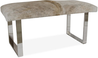 Le-Coterie Le Coterie BeBe Skinny Bench - Beige/Gray frame, silver; upholstery, beige/gray
