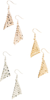 Carole Tri-Tone Triangle Drop Earrings