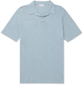 Sunspel Melange Cotton And Linen-Blend Polo Shirt
