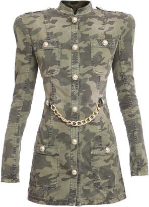 Balmain Camo Chainlink Stretch-Cotton Military Jacket