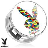 Playboy Bunny Logo Color Block Print Screw Fit Plug 316L Surgical Steel (Sold as a Pair)