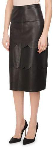 Altuzarra Hyacinthe Scalloped Leather Pencil Skirt, Black