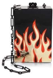 Edie Parker Carol Flames-Print Clutch