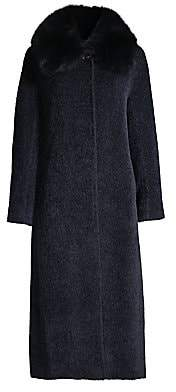 Cinzia Rocca Women's Fox Fur Collar Wool & Suri Alpaca Coat