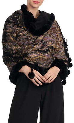 Gorski Paisley-Print Cashmere Stole with Rex Rabbit Fur Trim